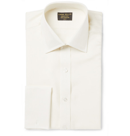 Emma Willis Ivory Slim-Fit Silk Shirt