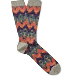 Anonymous Ism Tribal-Patterned Cotton-Blend Socks