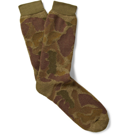 Anonymous Ism Camouflage-Patterned Cotton-Blend Socks