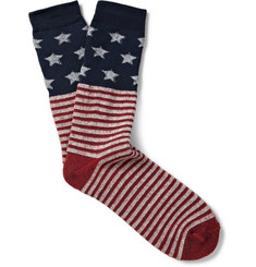 Anonymous Ism Stars and Stripes-Patterned Cotton-Blend Socks