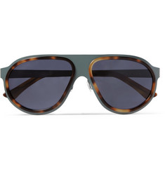 L.G.R Coated Stainless-Steel and Acetate Aviator Sunglasses