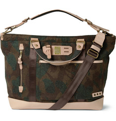 Master-Piece Leather-Trimmed Camouflage Wool-Blend Tote Bag
