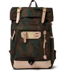 Master-Piece Leather-Trimmed Camouflage Wool-Blend Backpack