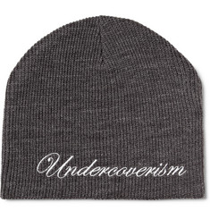 Undercover Embroidered Ribbed Beanie Hat