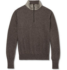 Doriani Suede-Trimmed Zip-Collar Cashmere Sweater