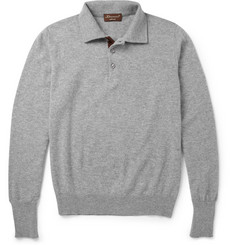 Doriani Long-Sleeved Suede-Trimmed Cashmere Polo Shirt