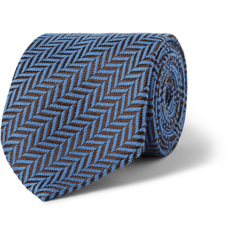 Charvet Herringbone Silk and Wool-Blend Tie