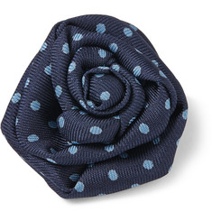 Charvet Dotted Silk-Faille Lapel Flower