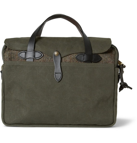 Filson Original Leather-Trimmed Twill and Harris Tweed Briefcase
