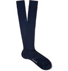 Bresciani Ribbed Knee-Length Cashmere and Silk-Blend Socks
