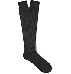 Bresciani Ribbed Knee-Length Cashmere Socks