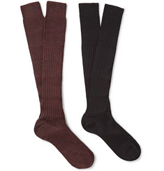 Bresciani Two-Pack Ribbed Knee-Length Wool-Blend Socks