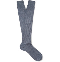 Bresciani Ribbed Knee-Length Wool-Blend Socks