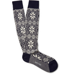 Bresciani Fair Isle Knee-Length Wool-Blend Socks