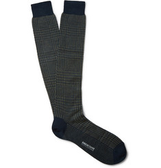 Bresciani Patterned Knee-Length Wool-Blend Socks