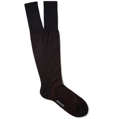 Bresciani Pin-Dot Knee-Length Fine-Cotton Socks