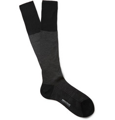 Bresciani Houndstooth Knee-Length Fine-Cotton Socks