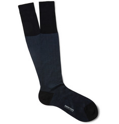Bresciani Herringbone Knee-Length Fine-Cotton Socks