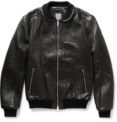 Lot78 Textured-Leather Bomber Jacket