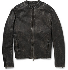 Lot78 Cracked Leather Biker Jacket