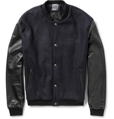 Lot78 Two-Tone Wool-Blend and Leather Bomber Jacket