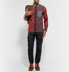 Beams Plus Button-Down Collar Panelled Tartan Cotton Shirt