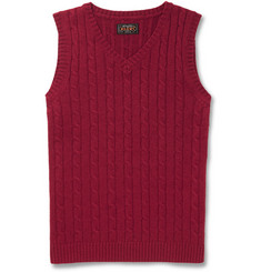Beams Plus Cable-Knit Merino Wool Sleeveless Sweater