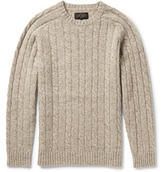 Beams Plus Marled Cable-Knit Wool Sweater