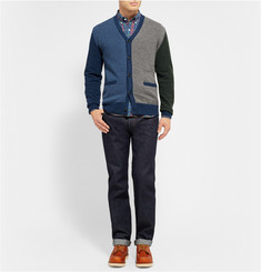 Beams Plus Colour-Block Wool-Blend Cardigan
