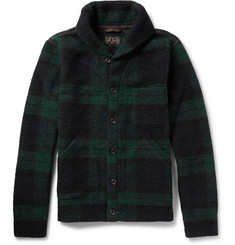 Beams Plus Checked Wool-Blend Shawl-Collar Cardigan
