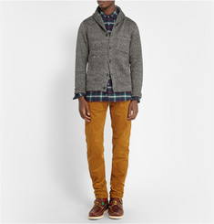 Beams Plus Herringbone-Print Fleece Shawl-Collar Cardiigan
