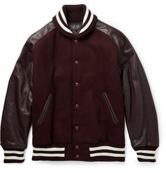 Beams Plus Leather and Wool-Blend Bomber Jacket