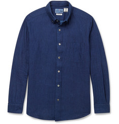 Blue Blue Japan Indigo-Dyed Dot-Print Cotton-Twill Shirt