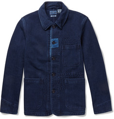 Blue Blue Japan Patchwork-Detailed Indigo-Dyed Denim Jacket