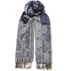 Blue Blue Japan Jacquard-Wool Lightweight Scarf