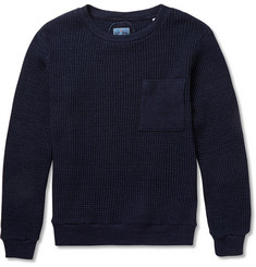 Blue Blue Japan Indigo-Dyed Waffle-Knit Cotton Sweater