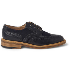 Mark McNairy Pebble-Grain Leather and Tweed Panelled Brogues