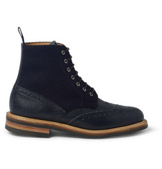 Mark McNairy Leather and Tweed Brogue Boots