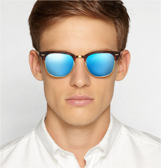 Ray-Ban Clubmaster Acetate and Metal Mirrored Sunglasses