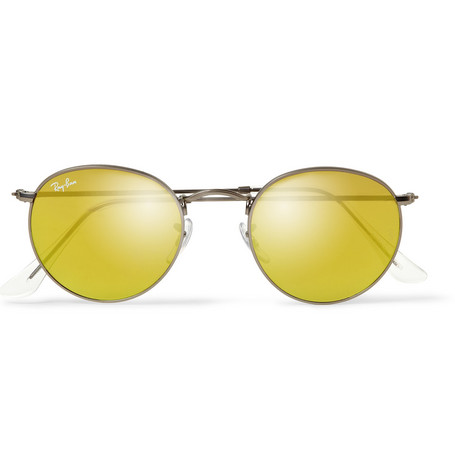 Ray-Ban Etched Matte-Gunmetal Round-Frame Sunglasses