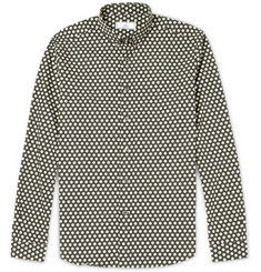 AMI Button-Down Collar Dot-Print Cotton Shirt