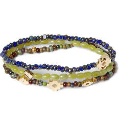 Luis Morais Gold, Jadeite and Glass Bead Bracelet Set of 3