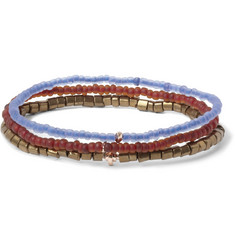 Luis Morais Madurai Gold and Glass Bead Bracelet Set of 3