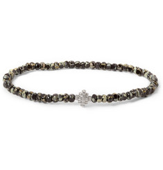 Luis Morais White Gold-Plated Trikona and Glass Beaded Bracelet
