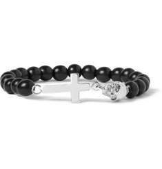 Luis Morais White Gold-Plated and Ebony Bead Bracelet