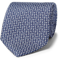Emma Willis Leaf-Print Silk Tie