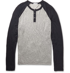 James Perse Raglan-Sleeved Cotton and Cashmere-Blend Henley T-Shirt