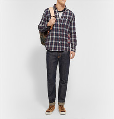 Remi Relief Button-Down Collar Checked Cotton-Flannel Shirt