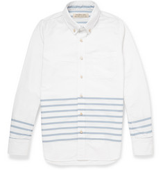 Remi Relief Button-Down Collar Striped Cotton Oxford Shirt