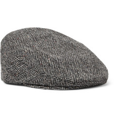 Lock & Co Hatters Glen Herringbone Wool-Tweed Flat Cap